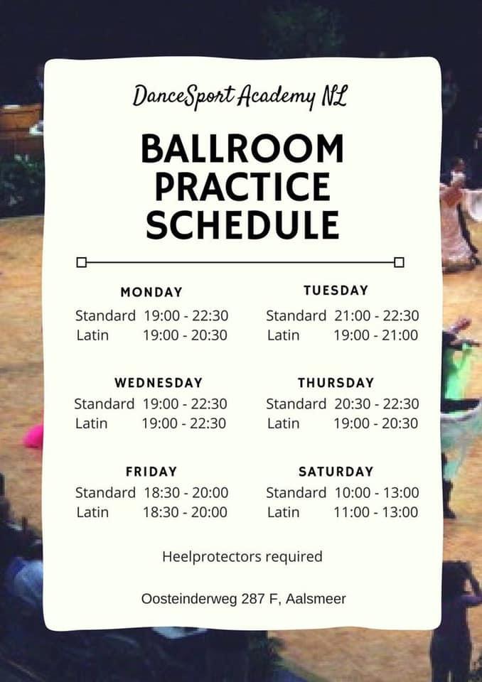Ballroom Practice Schedule