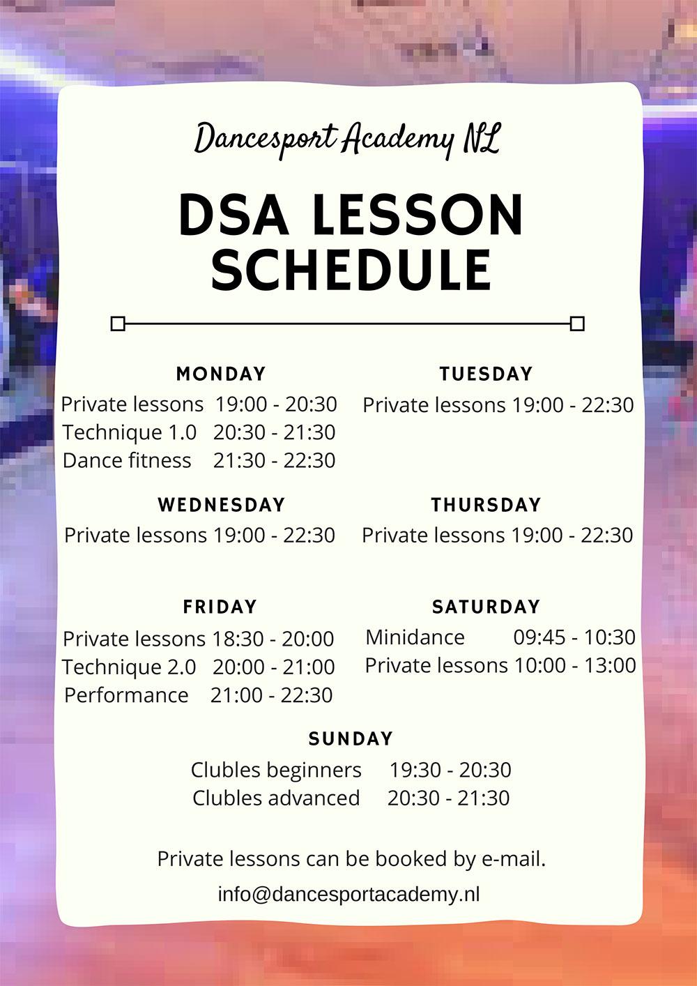 DSA Lesson Schedule